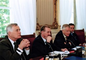 Prof. Piotr Węgleński, Jan Malicki, Prof. Zbigniew Brzeziński, Jerzy Koźmiński