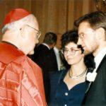 Kardynał James Hickey, Irena Kozminska, ambasador Jerzy Koźmiński – Waszyngton, 1996